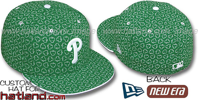 Phillies 'ST PATS FLOCKING' Kelly Fitted Hat by New Era : pictured without stickers that these products are shipped with
