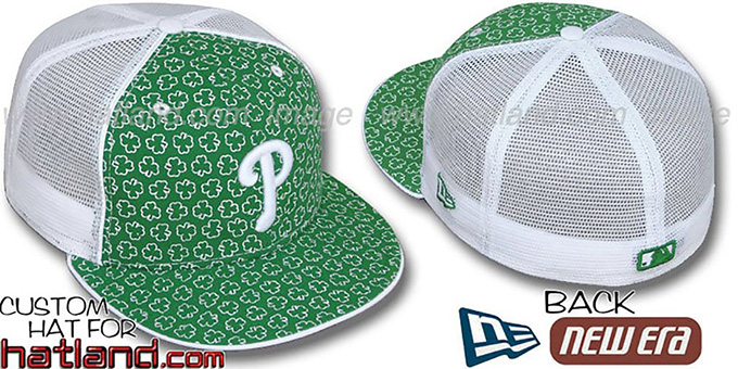 Phillies 'ST PATS FLOCKING MESH-BACK' Kelly-White Fitted Hat by New Era : pictured without stickers that these products are shipped with