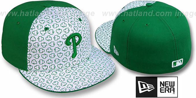 Phillies 'ST PATS FLOCKING PINWHEEL' White-Kelly Fitted Hat by New Era : pictured without stickers that these products are shipped with