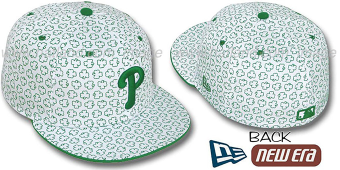Phillies 'ST PATS FLOCKING' White Fitted Hat by New Era : pictured without stickers that these products are shipped with