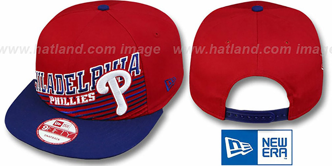 Phillies 'STILL ANGLIN SNAPBACK' Red-Royal Hat by New Era : pictured without stickers that these products are shipped with