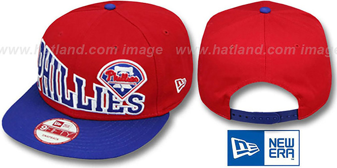 Phillies 'STOKED SNAPBACK' Red-Royal Hat by New Era : pictured without stickers that these products are shipped with