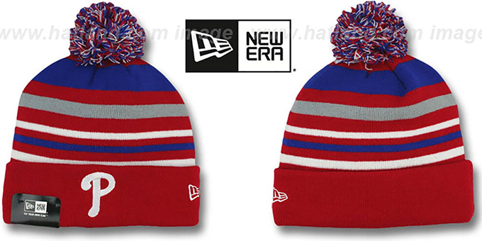 Phillies 'STRIPEOUT' Knit Beanie Hat by New Era : pictured without stickers that these products are shipped with