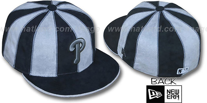 Phillies 'SUEDE 12-PACK' Black-Grey Fitted Hat by New Era : pictured without stickers that these products are shipped with