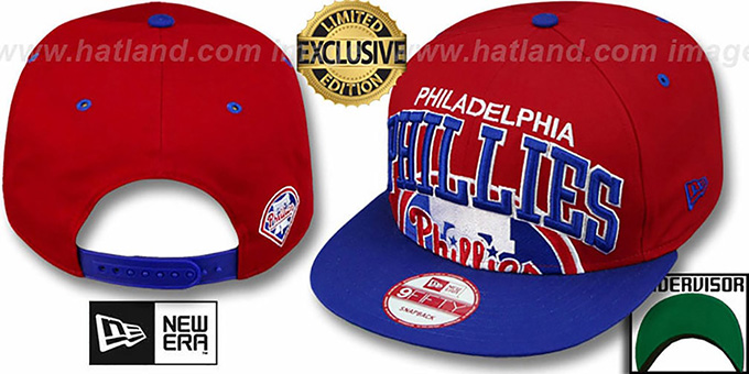 Phillies 'SUPER-LOGO ARCH SNAPBACK' Red-Royal Hat by New Era : pictured without stickers that these products are shipped with