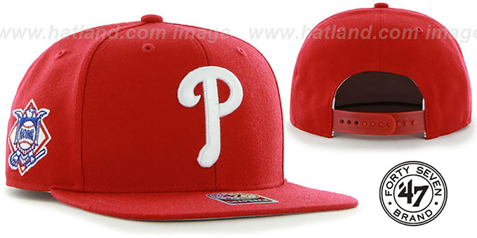 Phillies 'SURE-SHOT SNAPBACK' Red Hat by Twins 47 Brand : pictured without stickers that these products are shipped with