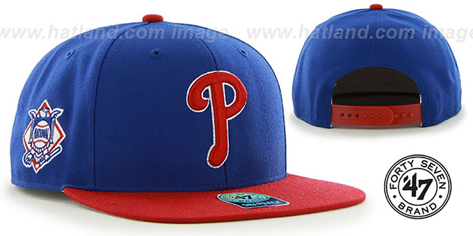 Phillies 'SURE-SHOT SNAPBACK' Royal-Red Hat by Twins 47 Brand : pictured without stickers that these products are shipped with