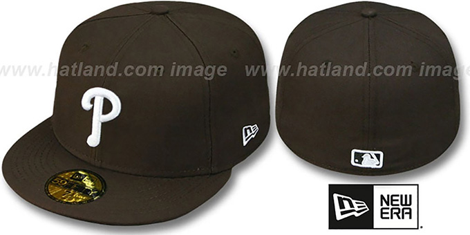 Phillies 'TEAM-BASIC' Brown-White Fitted Hat by New Era : pictured without stickers that these products are shipped with