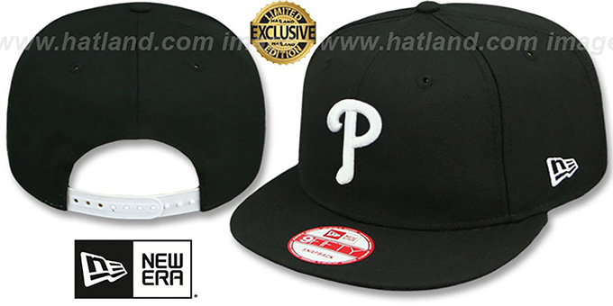 Phillies 'TEAM-BASIC SNAPBACK' Black-White Hat by New Era : pictured without stickers that these products are shipped with