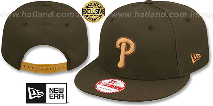 Phillies 'TEAM-BASIC SNAPBACK' Brown-Wheat Hat by New Era : pictured without stickers that these products are shipped with