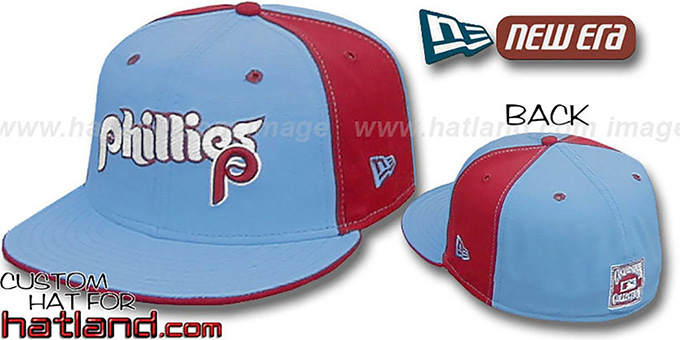 Phillies 'TEAM-UP PINWHEEL' Columbia-Burgundy Fitted Hat by New Era : pictured without stickers that these products are shipped with