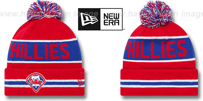 Phillies 'THE-COACH' Red Knit Beanie Hat by New Era : pictured without stickers that these products are shipped with