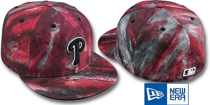Phillies 'TIE-DYE' Red Fitted Hat by New Era : pictured without stickers that these products are shipped with