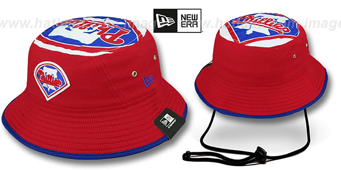 Phillies 'TOPPER TRAINING BUCKET' Red Hat by New Era : pictured without stickers that these products are shipped with