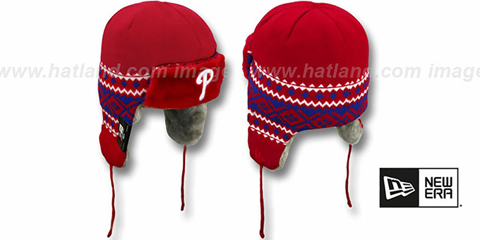 Phillies 'TRAPPER' Red Knit Hat by New Era : pictured without stickers that these products are shipped with