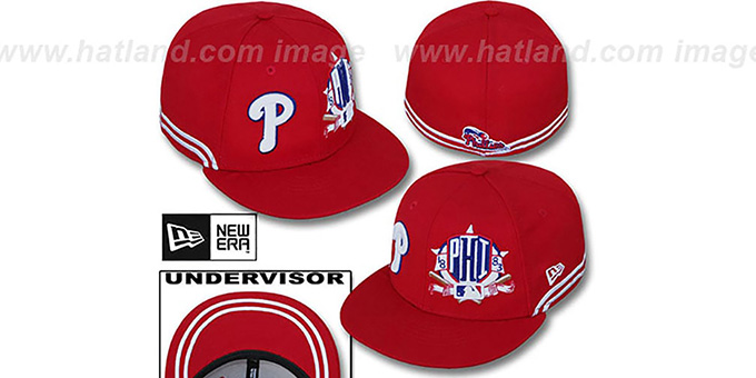 Phillies 'TWO-BIT' Red-White Fitted Hat by New Era : pictured without stickers that these products are shipped with