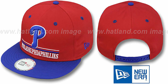 Phillies 'UNDERLINE SNAPBACK' Red-Royal Hat by New Era : pictured without stickers that these products are shipped with