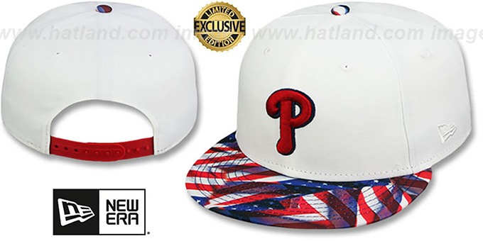 Phillies 'USA WAVING FLAG SNAPBACK' White-Flag Hat by New Era : pictured without stickers that these products are shipped with