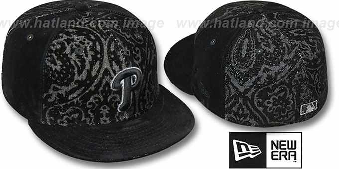 Phillies 'VELVET PAISLEY' Black Fitted Hat by New Era : pictured without stickers that these products are shipped with