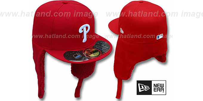 Phillies 'WATER REPELLENT DOGEAR' Red Fitted Hat by New Era : pictured without stickers that these products are shipped with