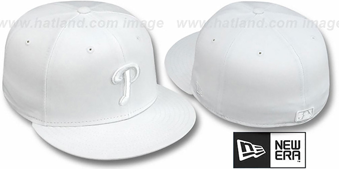 Phillies 'WHITEOUT' Fitted Hat by New Era : pictured without stickers that these products are shipped with