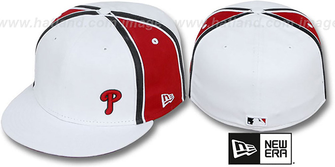 Phillies 'WILLIAM-III FLAWLESS' White-Red Fitted Hat by New Era : pictured without stickers that these products are shipped with