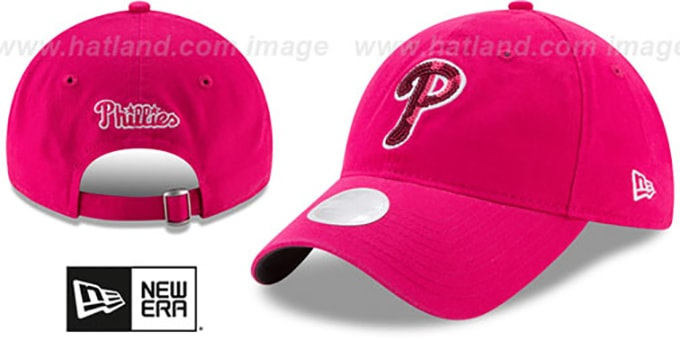 Phillies 'WOMENS MOTHERS DAY GLIMMER STRAPBACK' Pink Hat by New Era : pictured without stickers that these products are shipped with