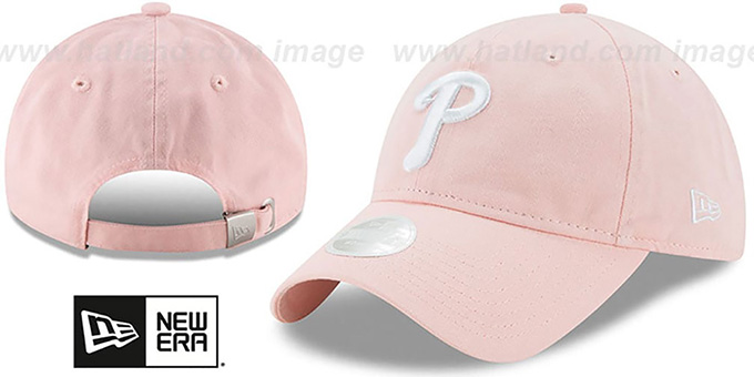 Phillies 'WOMENS PREFERRED PICK STRAPBACK' Light Pink Hat by New Era : pictured without stickers that these products are shipped with