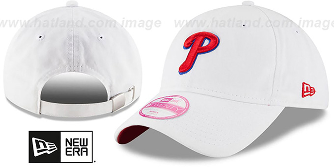 Phillies 'WOMENS PREFERRED PICK STRAPBACK' White Hat by New Era : pictured without stickers that these products are shipped with