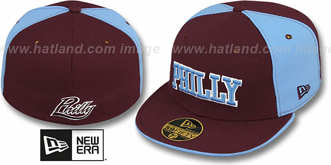 Philly 'PINWHEEL-CITY' Burgundy-Sky-Burgundy Fitted Hat by New Era : pictured without stickers that these products are shipped with