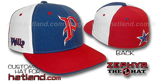Philly 'PINWHEEL' Royal-White-Red Fitted Hat : pictured without stickers that these products are shipped with