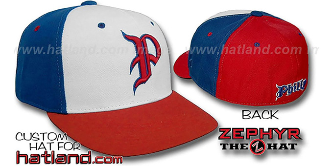Philly 'PINWHEEL' White-Royal-Red Fitted Hat : pictured without stickers that these products are shipped with