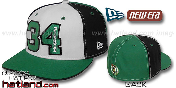 Pierce 'PINWHEEL' White-Black-Green Fitted Hat by New Era : pictured without stickers that these products are shipped with