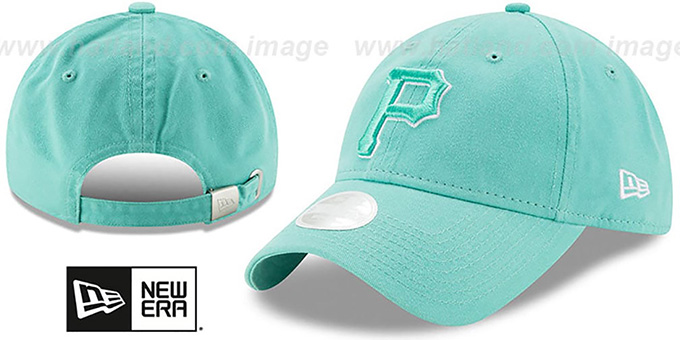 Pirates 'WOMENS PREFERRED PICK STRAPBACK' Mint Hat by New Era : pictured without stickers that these products are shipped with