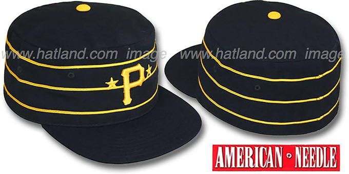 Pirates '1977 PILLBOX' Black Fitted Hat by American Needle : pictured without stickers that these products are shipped with