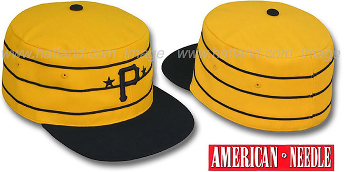 Pirates '1977 PILLBOX' Gold Fitted Hat by American Needle : pictured without stickers that these products are shipped with