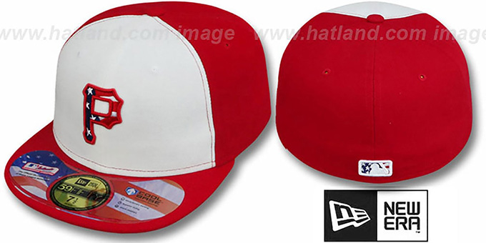 Pirates '2011 STARS N STRIPES' White-Red Hat by New Era : pictured without stickers that these products are shipped with