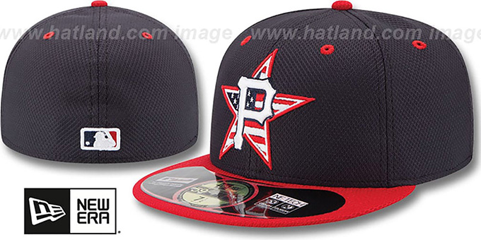 Pirates '2014 JULY 4TH STARS N STRIPES' Hat by New Era : pictured without stickers that these products are shipped with