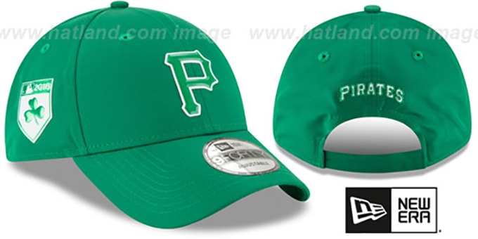 Pirates '2018 ST PATRICKS DAY 940 STRAPBACK' Hat by New Era : pictured without stickers that these products are shipped with