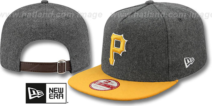 Pirates '2T MELTON A-FRAME STRAPBACK' Hat by New Era : pictured without stickers that these products are shipped with
