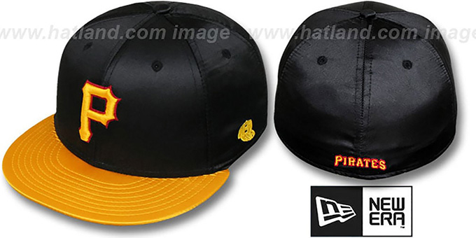 Pirates '2T SATIN CLASSIC' Black-Gold Fitted Hat by New Era : pictured without stickers that these products are shipped with