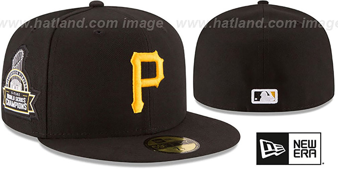 Pirates 5X 'TITLES SIDE-PATCH' Black Fitted Hat by New Era : pictured without stickers that these products are shipped with