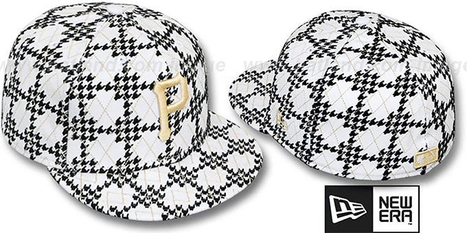 Pirates 'A-TOOTH' White-Black Fitted Hat by New Era : pictured without stickers that these products are shipped with