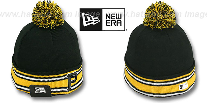 Pirates 'AC-ONFIELD' Black Knit Beanie Hat by New Era : pictured without stickers that these products are shipped with