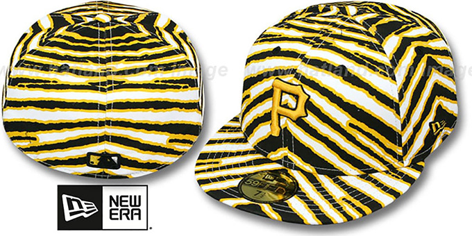 Pirates 'ALL-OVER ZUBAZ' Fitted Hat by New Era : pictured without stickers that these products are shipped with