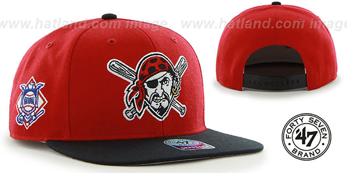Pirates ALT 'SURE-SHOT SNAPBACK' Red-Black Hat by Twins 47 Brand : pictured without stickers that these products are shipped with