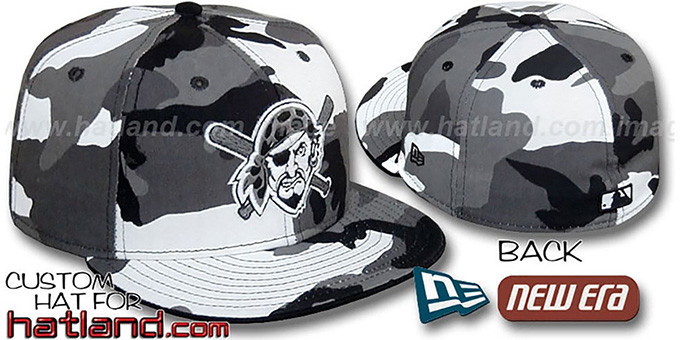 Pirates ALTERNATE 'URBAN CAMO' Fitted Hat by New Era : pictured without stickers that these products are shipped with
