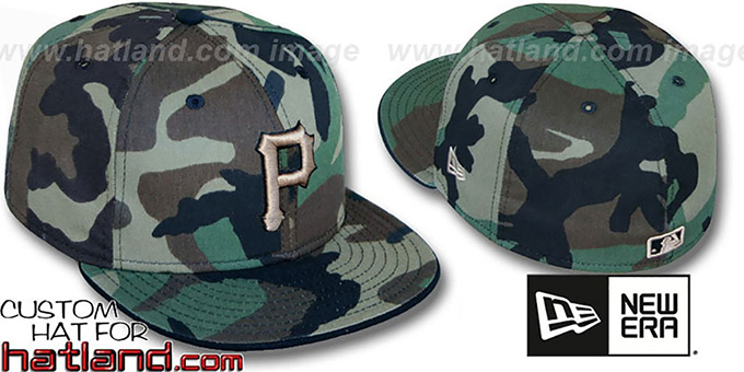 Pirates 'ARMY CAMO' Fitted Hat by New Era : pictured without stickers that these products are shipped with