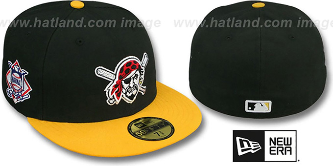Pirates 'BAYCIK' ALT Black-Gold Fitted Hat by New Era : pictured without stickers that these products are shipped with
