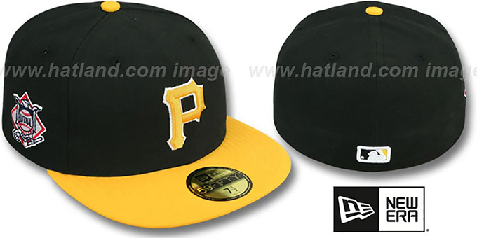 Pirates 'BAYCIK' Black-Gold Fitted Hat by New Era : pictured without stickers that these products are shipped with